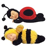 (Set) Ann Geddes Bee And Ladybug Baby Dolls - Bean Filled - Ages 18 Months + (2)
