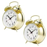 (Set of Two) Keywind Bell Alarm Clocks - Runs Up To 30 Hours On A Full Wind (2)