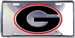 Georgia Bulldogs NCAA Silver Mirror License Plate (1 Unit)
