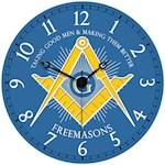 "Freemasons Clock - Handsome 13"" Wood Laminate w/ Masonic Square And Compass (1)"