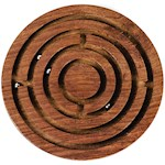 "Wood Circle Labyrinth - Handmade Maze - 6"" Dia - Sustainable Indian Rosewood (1)"