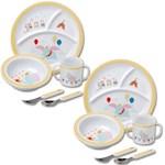 (Set/2) Disney Dumbo Childrens Dinner Acrylic Setting w/ Plate Bowl Utensils (2)