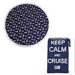 (Set) Round Anchor Beach Towel & Keep Calm And Cruise On Hand-Beaded Purse (2)