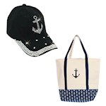 (Set) Anchor Bling One Size Fits Most Cap & Anchor Boat Natural Cotton Tote (2)