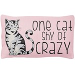 "One Cat Shy Of Crazy Throw Pillow - 18"" X 12"" Feline Lover Bed Couch Décor (1)"