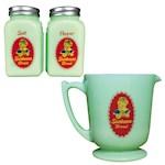 (Set) Sunbeam Jadeite Depression Style Salt & Pepper Shakers & Measuring Cup (2)