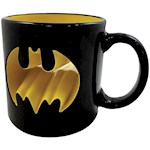 DC Comics - Batman Logo Punch Through 16 Ounce Black & Yellow Ceramic Mug (1)