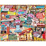 Retro Diner 1000pc Puzzle - Art By Lois Sutton, Crafted Of Sturdy Chipboard (1)