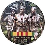 "(Set) Vietnam War 13"" Wall Clock - Image Of Bonze Memorial w/ Batteries (2)"