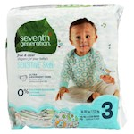 Seventh Generation Free and Clear Baby Diapers - Stage 3 - Pack of 4 - 31 Count (4)