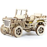 Mechanical Jeep 4x4 Working 570 Piece Birch Wood Model w/ Rubber Band Motor (1)