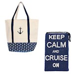 (Set) Anchor Boat Natural Cotton Tote & Keep Calm And Cruise On Beaded Purse (2)