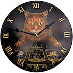 "Lisa Parker The Reader Cat Wall Clock 12"" Dia w/ Drilled Mount Keyhole (1)"