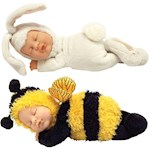 (Set) Ann Geddes Bee And Snow Bunny Baby Dolls - Bean Filled - Ages 18 Mos + (2)