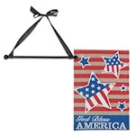 (Set) God Bless America Screen Print Burlap Garden Flag & Wooden Wall Hanger (2)