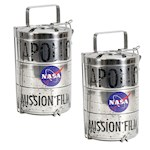 (Set/2) NASA Apollo Moon Landing Lunch Box Stainless Steel Lunar Can Replica (2)