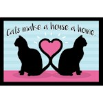 Cats Make House A Home Doormat - 100% Polyester w/ Non Skid Backing USA Made (1)