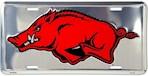 Arkansas Razorbacks NCAA Silver Mirror License Plate (1 Unit)