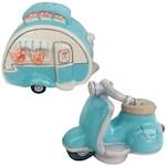 Retro Camper & Motorcycle Salt & Pepper Shaker Set - Hand-Painted & Ceramic (2)