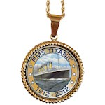"RMS Titanic Necklace - Trimmed with a Goldtone Rope Design - 18"" Rope Chain (1)"