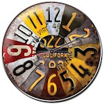 (Set) License Plate Wall Clock w/ Batteries - Acrylic Lens And Heavy Steel (2)