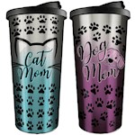 (Set) Cat And Dog Mom Travel Mugs - Stainless Steel Shell & BPA-Free Plastic (2)