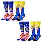 (Set/2) Donald Trump Sock Set - One Size Fits Most Adults - Four Pairs Total (2)