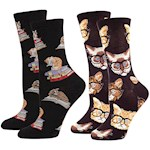 Cat Socks Set - One Size Fits Most Adults Made Of Cotton/Nylon/Spandex Blend (2)