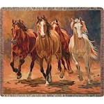 Hoofbeats And Heartbeats Horse Throw - Woven in 100% Cotton And Made In USA (1)