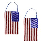(Set/2) American Flag Beaded Purses - Fully Lined with Zippered Compartments (2)
