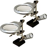 (Set/2) Helping Hands w/ LED Light Clamps & Adjustable Arms + Magnifier (2)