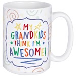 Grandkids Think I'm Awesome Mug - 14 Ounce Ceramic Coffee Tea Hot Cocoa Cup (1)