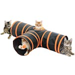 3 Way Cat Tunnel - Collapsible & Includes Ball Suspended From Bouncy String (1)