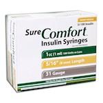 Sure Comfort Insulin Syringes - 31 G, 1 cc, 5/16 in - 100 ea - 22-6510 (1)
