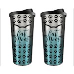 (Set) Cat Mom Travel Mugs - Stainless Steel Outer Shell And BPA-Free Plastic (2)
