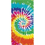"Rainbow Tie Dye Beach Towel - 100% Cotton Velour 30"" X 60"" Pool Accessory (1)"