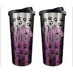 (Set) Dog Mom Travel Mugs - Stainless Steel Outer Shell And BPA-Free Plastic (2)