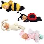 (Set) Ann Geddes Plush Sleeping Baby Dolls - Bee, Lady Bug, Bunny And Fairy (4)