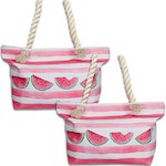 "(Set/2) Watermelon Beach Break Tote Bag - Polyester w/ Rope Handle 22"" X 14"" (2)"