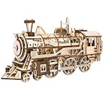 Locomotive Mechanical Wooden Model - 340 Laser-Cut Pieces w/ Moving Wheels (1)