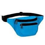 Blue Three Zipper Fanny Pack Neon - Hands Free Waist Belt Stash Money + (1)