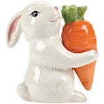 "Bunny And Carrot Shaker Set - 3.5"" Tall Ceramic Springtime Culinary Figures (1)"