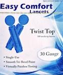 Easy Comfort 30 Gauge Twist Top Lancets - 100 Sterile Tip Lancets (1 Box)