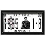 (Set) Elvis Presley License Plate Clock w/ Batteries - Black Laminate Frame (2)