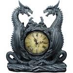 "(Set) Dragon Clock - Medieval-Style Handpainted Resin Figure 11"" X 10"" w/ Batteries (2)"