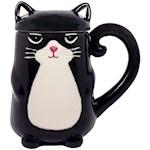 Black Kitty Cat Feline Shaped Coffee Mug With Tail Handle And Ears On Lid (1)