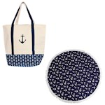 (Set) Anchor Boat Natural Cotton Tote & Round Anchor Polyester Beach Towel (2)