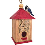 Home Sweet Home Birdhouse - Whimsical Handpainted Polyresin w/ Hanging Rope (1)