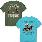 (Set) All Fun & Games And Party Wiener Dog 100% Cotton Tagless T-Shirts - 2X (2)