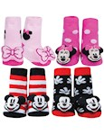(Set) Disney Mickey And Minnie Mouse Rattle Socks - Machine Washable, Cotton (4)